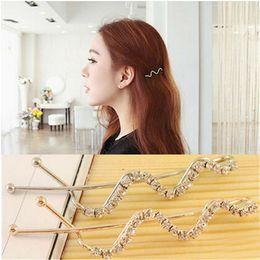 Wholesale 1PC Spiral Screw Pin Hair Clip Twist Barrette Crystal Side Bangs Clip Word Shilly Folder BB Folder Jewelry A5R32C