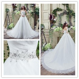 Wholesale Sweetheart Bridal Gowns Big Train Beads Sashes Floor Length Pleat Luxury Women Lady Wedding Party Catwalk Redcarpet Dresses