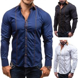 2017 new single breasted Shirt Mens Casual long solid fashion muscle design to the western style of men's shirt collars are free shipping