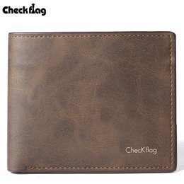 Wholesale Mens PU Leather Wallet Card Holder Card Case Protector Short Bifold Purse Vintage Brown Plain Fashion