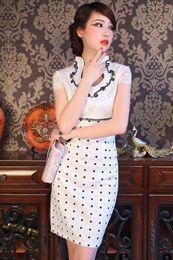 Wholesale Cheongsam Vestido - New Arrival Chinese Female Cotton Qipao Cheongsam Bride Wedding Party Dress Vestido De Festa Size S M L XL XXL HB048