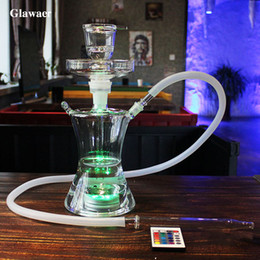 Glawaer Small Russian style Glass Hookahs Huge Vapor Shisha Chicha Vaporizer Narguiles Smoking Water Pipes With LED Light Glass Bongs
