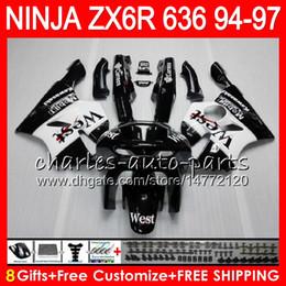 8Gifts 23Colors For KAWASAKI NINJA ZX636 ZX6R 94 95 96 97 ZX-6R ZX-636 33HM2 black west 600CC ZX 636 ZX 6R 1994 1995 1996 1997 Fairing kit