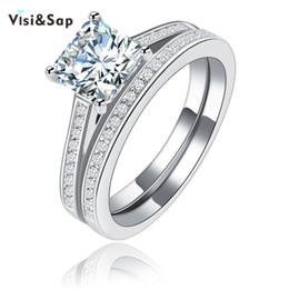 Visiap White Gold color square stone couple ring wedding Rings for women vintage jewelry Wholesale engagement bijoux VSR120