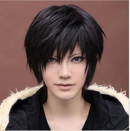 "ePacket free shipping Anime Handsome Boy Short Hair Wig 18"" Sexy Men's Girls Hair Cosplay Black Wigs"