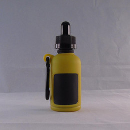Wholesale Silicon Cap Bottle - New 30ML Yellow Temper Proof Cap Mini glass bottles with cork in Silicon rubber case Package Set E liquid Glass Bottle Dutch miracle