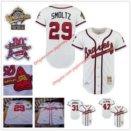 Wholesale 1995 World Series Atlanta Braves Jersey th Patch David Justice Fred McGriff John Smoltz Greg Maddux Steve Avery Tom Glavine