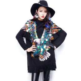 Wholesale eagle sequined tassels girl sweater female costume bar party stage for singer DS dancer star show super star nightclub