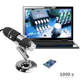 Descuento soportes de cámaras digitales Venta al por mayor-Nuevo 2MP 1000X 8LED USB portátil Microscopio Digital Zoom Cámara de vídeo Zoom + Soporte