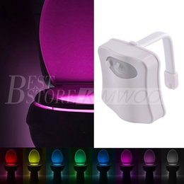 Wholesale Motion Activated Toilet Bowl Night Light The LED Bathroom Light Features Changing Colors Mode Battery Operated Energy Saving For Bat