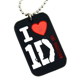 Wholesale 50PCS Lot I Love 1D Silicone Dog Tag Necklace One Direction Logo With 24 Inch Ball Chain