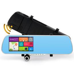 Cámaras de lentes de porcelana en Línea-Nuevo Android 5.0 pulgadas de espejo retrovisor coche DVR radar de detección GPS de navegación del coche cámara de doble lente 1080p Cam Video Recorder