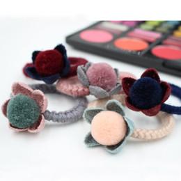 Girls hair ball knitting wool elastic ring flower FS00119
