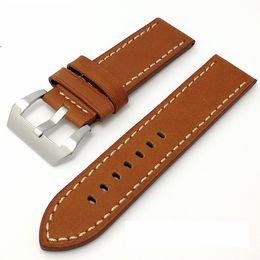 Promotion bracelet en cuir véritable Bracelet en cuir véritable Bracelet 24mm 26mm souple épais montre ceinture avec boucle en métal fermoir fermoir de haut grade cuir montre bandes brun