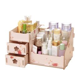Almacenamiento de maquillaje de madera en Línea-Caja de madera de madera del organizador cosmético de la asamblea de DIY de la caja del organizador del maquillaje del envase de la joyería de la caja de almacenaje de Freeshipping