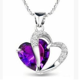 Wholesale New Best Gift Top Quality Fashion Class Women Girls Lady Heart Crystal Amethyst Maxi Statement Pendant Necklace NEW Jewelry