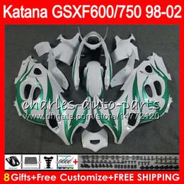 8 Gifts For SUZUKI KATANA GSXF600 GSXF750 98 99 00 01 02 gloss white 7HM34 GSX750F GSX600F GSXF 750 600 1998 1999 2000 2001 2002 Fairing Kit