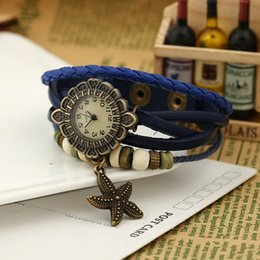 Hand woven Fashion Bracelet Watch Leather Bracelet 23g Material: head leather + alloy + Watch for girl friends