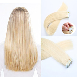 Tape in Human Hair extensions #613 Blonde 16-24inch Brazilian Virgin Human Hair Extension 20pcs PU Skin Weft Straight 30-70g Multi Colors