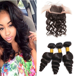 Wholesale Pre Plucked Lace Frontal Closure With Bundles Brazilian Loose Wave Virgin Human Hair Weaves With Full Lace Frontals With Baby Hair