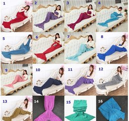 Wholesale 16 Colors Adult and Kids Yarn Knitted Mermaid Tail Blanket Handmade Crochet Mermaid Blanket Kids Throw Bed Wrap Super Soft Sleeping Bed