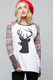 Stylish Women Long Sleeve T-shirt Christmas Deer Printed Patchwork Tops Woman Spring Autumn T-shirts Female T Shirt 2017 New 07
