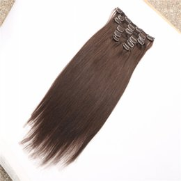 Hair Extensions 2017 New Arrive Fashion Long Clip In Hair Drakest Brown Straight 100% Vigin Human Hair Super Soft Fashion Style