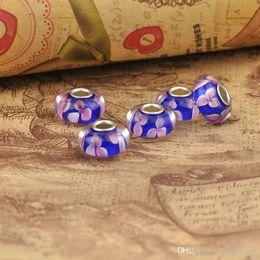 2016 Flowers Pink Real Handmade Lampwork Selling Pampa Dora Jewelry Accessories Drip Plating Mail Eye Diy Beads Bracelet Coloured Glaze Big