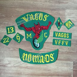 Wholesale Fashion Vagos MC Full Of Jacket Vest Embroidered Patch Green Motorcycle Biker Vest Patch Rock Punk Patch