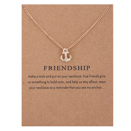 Wholesale Friendship Anchor Pendant Dogeared Necklaces With Card Fashion High quality necklace Gold Anchor charms Link Chain For women Jewelry