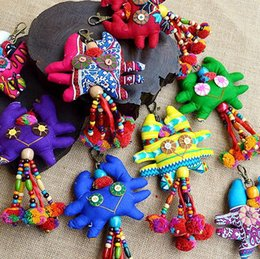 Wholesale Animal fabric key chain Thailand Crab Pendant fabric handmade lovely car decorated with national jewelry Southeast Asian jewelry