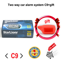 Descuento sistema de alarma a distancia un coche Sistema de alarma de dos vías Starlionr C9 del coche del envío Al por mayor-Libre con el sistema de alarma teledirigido del coche de la versión del comienzo del motor C9 + caja del silicón