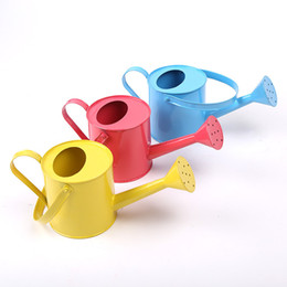 Wholesale 12 Supplies Candy Color Iron Sheet Long Mouth Gardening Green Plant Pot Culture The Flowers Watering Can Water Spray Kettle