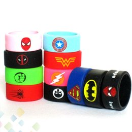 Wholesale Vape Band Rubber Silicon Ring Spiderman Iron Man Punisher Captain America ect LOGO fit Atomizers Mod Tank E Cig DHL Free