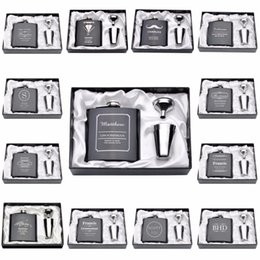Grossiste - 1 Set personnalisé gravé flacon 6 oz en acier inoxydable avec blanc boîte noire anniversaire de la Saint-Valentin Cadeau Favors de mariage engrave flask on sale à partir de gravent flacon fournisseurs