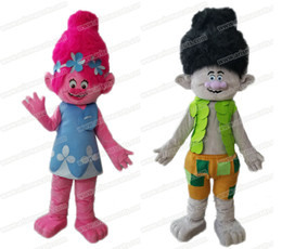 Wholesale New Addition Trolls character Poppy and Branch mascot costume for kids partyTroll fancy dress party costumes fur mascot