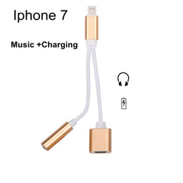Wholesale Iphone Plus in Charging and Music Audio Adapter mm Headphone Convertor Adapter Cable free DHL Shipping Retail package