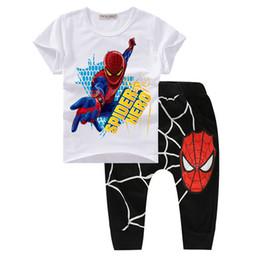 2017 spiderman ensembles de vêtements d'été Vêtements pour garçons Été 2017 Nouveau Spiderman garçons garçons Set Vêtements Cute Cartoon Print Coton organique Bébés garçons Suit Mode T21 peu coûteux spiderman ensembles de vêtements d'été