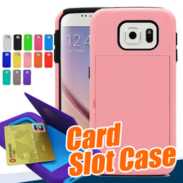 Hybrid Credit Card Pocket Wallet Pouch Phone Case For iphone 6s plus samsung s6 edge PC Back Cover Cases