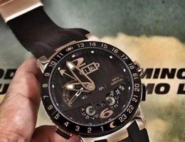 Promotion mens multi fonction Montre mécanique des hommes de luxe Inox UN El Toro calendrier perpétuel GMT MULTI-FUNCTIONS Bleu Dial Caoutchouc Mode Hommes Affaires Montres-bracelets