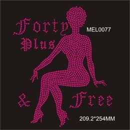SS6 SS10 Hot Pink Lady stock custom rhinestone transfer iron on t-shirt free shipping