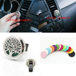 Wholesale Tree of Life L Stainless Steel Car Air Freshener Aromatherapy Essential Oil Diffuser Locket Vent Clip with Refill Pads