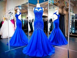 2K18 Shinny Royal Blue Tulle Lace Mermaid Prom Dresses Sexy Sleeveless Sheer Backless Appliqued Crystals Long Party Evening Gowns