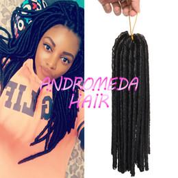 Descuento rastas tejen 18 inch 100g / pack falso locs crochet el pelo negro de los dreadlocks pelo sintético de la trenza del ganchillo La Habana Mambo Faux Locs que teje