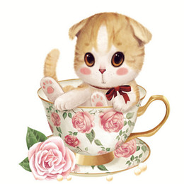 A1034 5D Diamond Embroidery Home Decor Cross Stitch Cup Cat 100% Resin Tool dril Painting Cross Stitch Mosaic Needlework