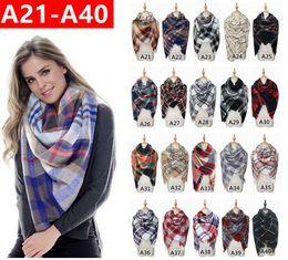 140*140cm Plaid Blanket Scarf Women Tartan Tassels Scarf Grid Shawl Wrap Lattice Neckchief Cashmere Muffler Fashion Winter Check Pashmina