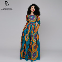 2017 spring new Africa Clothing elegant round collar Traditioncal print long dress women long sleeve cotton Classic batik cloth