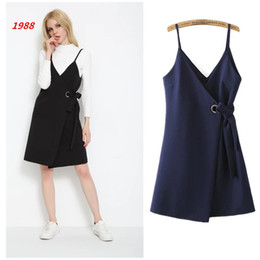 The 1988 women's trade and the wind spring fashion Couture lace collar sling slit dress V