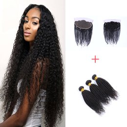 8A Brazilian Curly Hair Wefts 3 Bundles Natural Color Brazilian Curly Hair Weaves 300g with 13*4 Lace Frontal Virgin Human Hair Extension