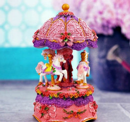 Wholesale Lighted Carousel Music Box Birthday Gift Toys For Children Bless Animated Luxury Horse Go Round Musical Swings Carousels Classic Mus